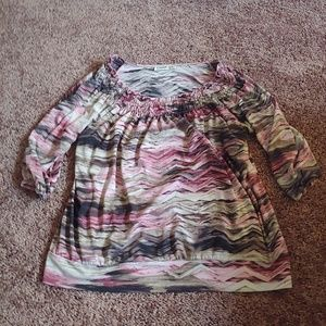 Claudia Richard pinkish black&white blouse